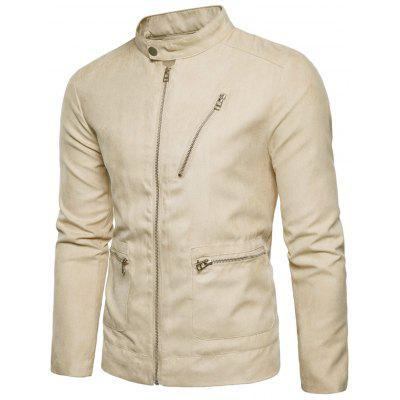 Stand Collar Zip Up Faux Suede JacketMens Jackets &amp; Coats<br>Stand Collar Zip Up Faux Suede Jacket<br><br>Closure Type: Zipper<br>Clothes Type: Jackets<br>Collar: Mandarin Collar<br>Material: Polyester<br>Occasion: Casual<br>Package Contents: 1 x Jacket<br>Season: Winter, Fall<br>Shirt Length: Regular<br>Sleeve Length: Long Sleeves<br>Style: Casual<br>Weight: 0.5300kg