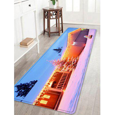 Christmas House Tree Pattern Water Absorption Area Rug