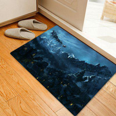 Christmas Mountains Night Pattern Water Absorption Area Rug