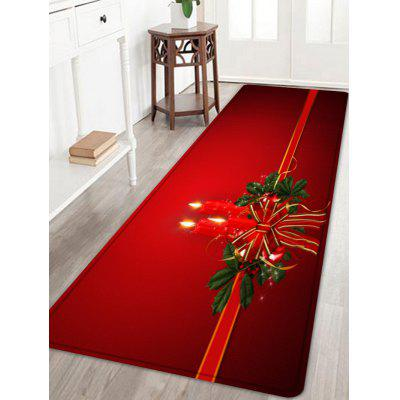 Christmas Bowknot Candle Pattern Water Absorption Area Rug