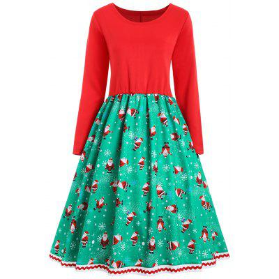 Noël Santa Claus Snowflake Vintage Plus Size Dress