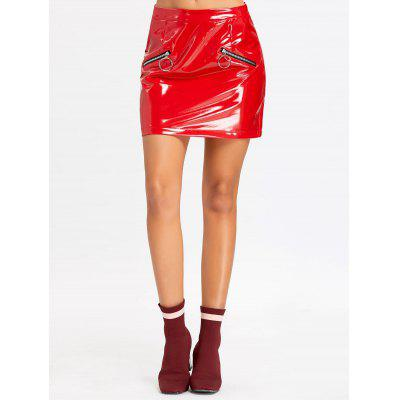 Faux Leather Zippers Mini Skirt