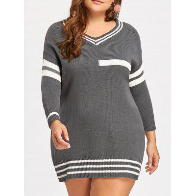 Plus Size Stripe Panel V Neck Tunic Sweater