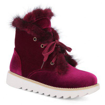 Lace Up Faux Fur Splicing Short Boots