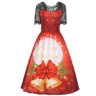 Christmas Bell Lace Panel Vintage Plus Size Dress