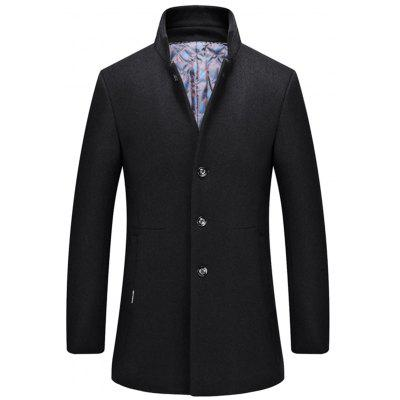 Single-Breasted Stand Collar Wool Blend Coat