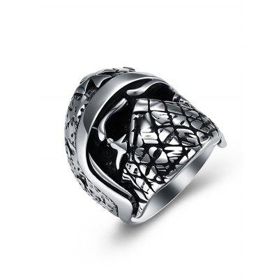 Vintage Casted Skull Carving Gothic Style Titanium Steel Ring