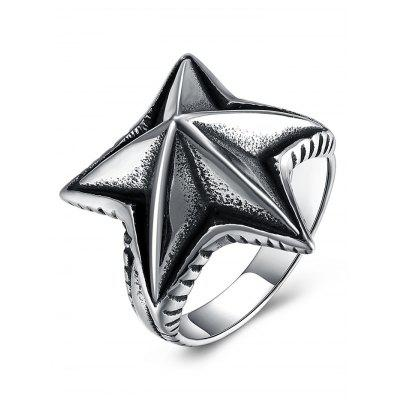 3D Star Carving Embellished Stainless Steel Ring