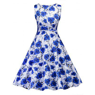 Retro Floral Print Party Pin Up Dress