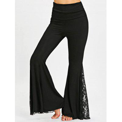 Buy BLACK L High Waisted Lace Panel Flare Pants for $25.01 in GearBest store