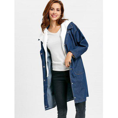 Removable Hooded Snap Button Denim Coat