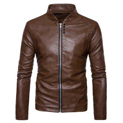 Stand Collar Embellished Faux Leather Zip Up Jacket