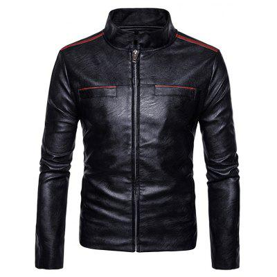 Stand Collar Edging Zip Up Faux Leather Jacket