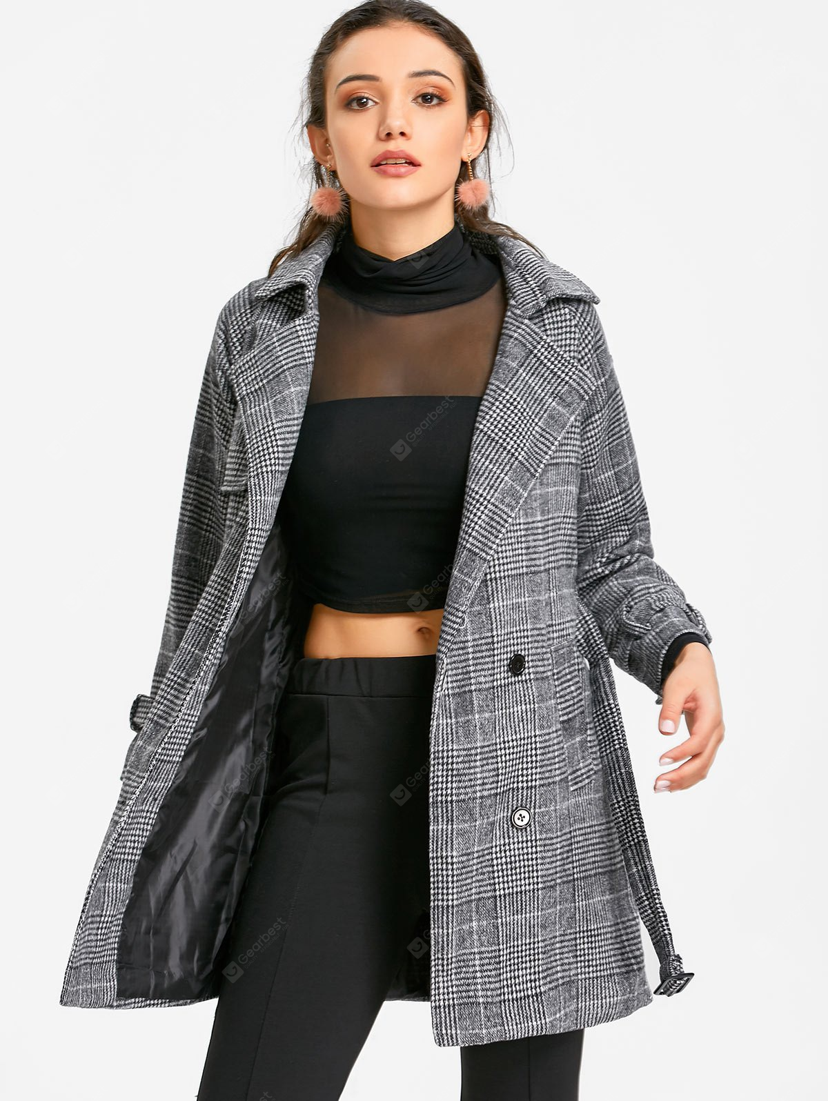 Belted Single Breasted Houndstooth Coat