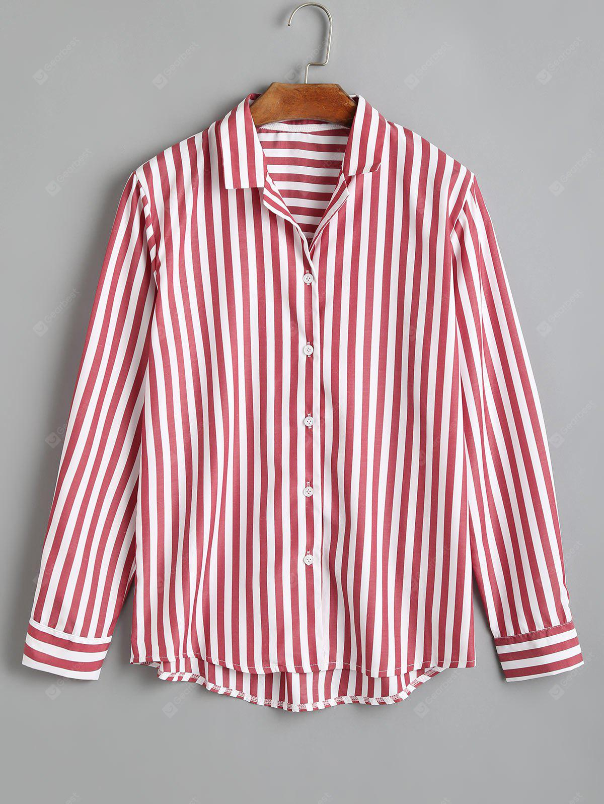 Longline Striped Button Up Shirt