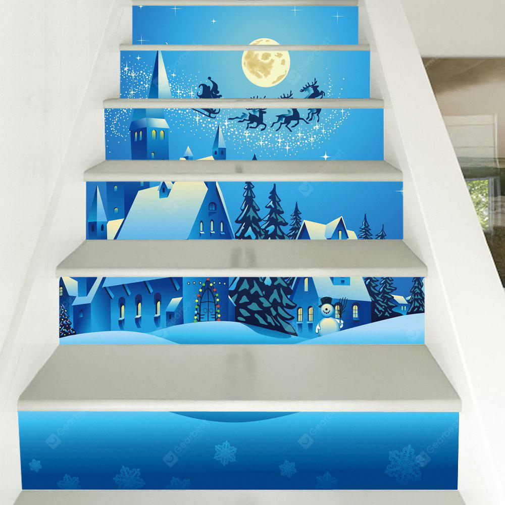 Christmas Night House Pattern Decorative Stair Decals