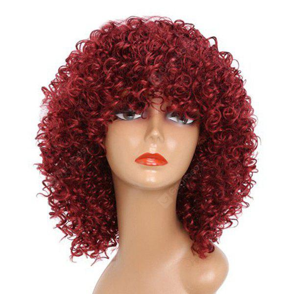 WINE RED Medium Full Bang Fluffy Afro Kinky Curly Synthetic Wig