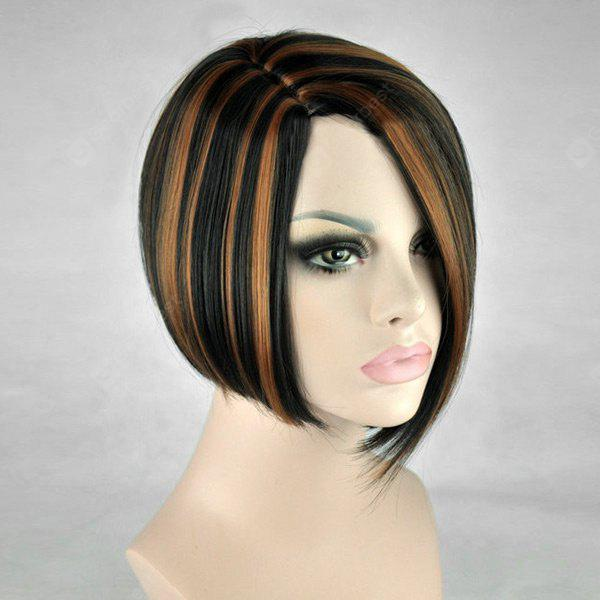 Short Side Parting Straight Bob Highlighted Synthetic Wig