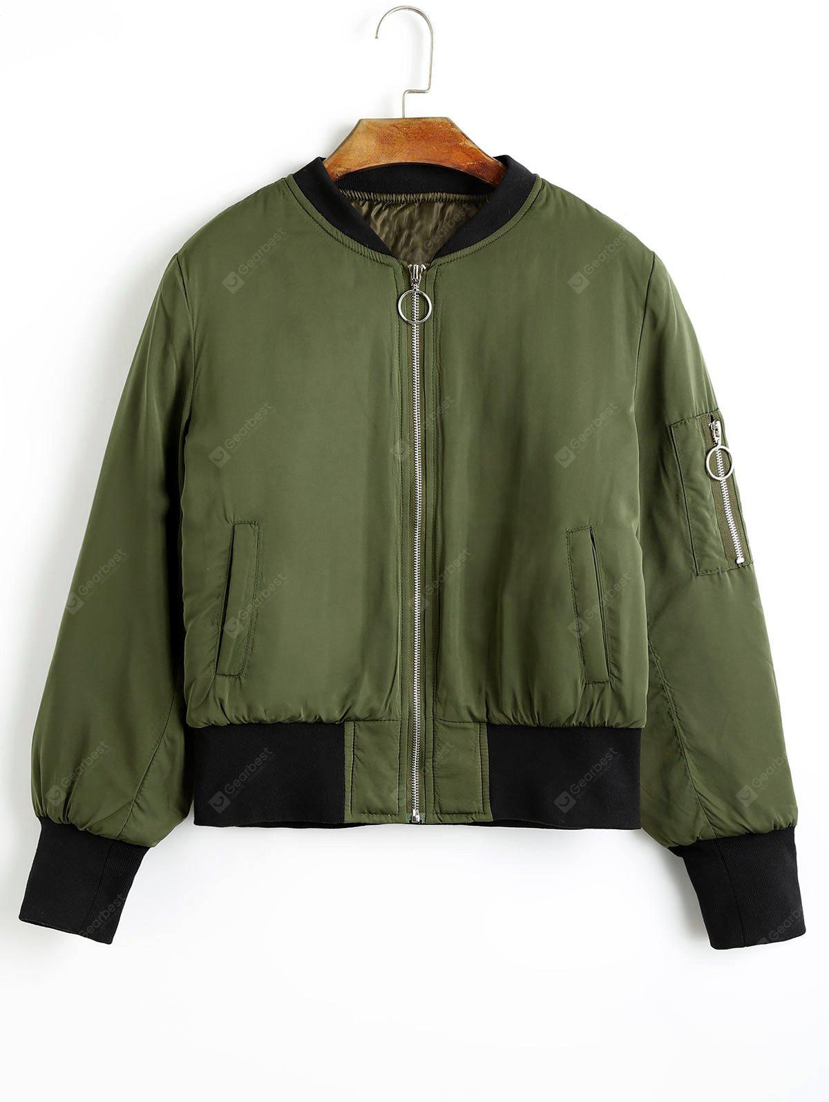 Zippered Puffer Jacket with Pockets