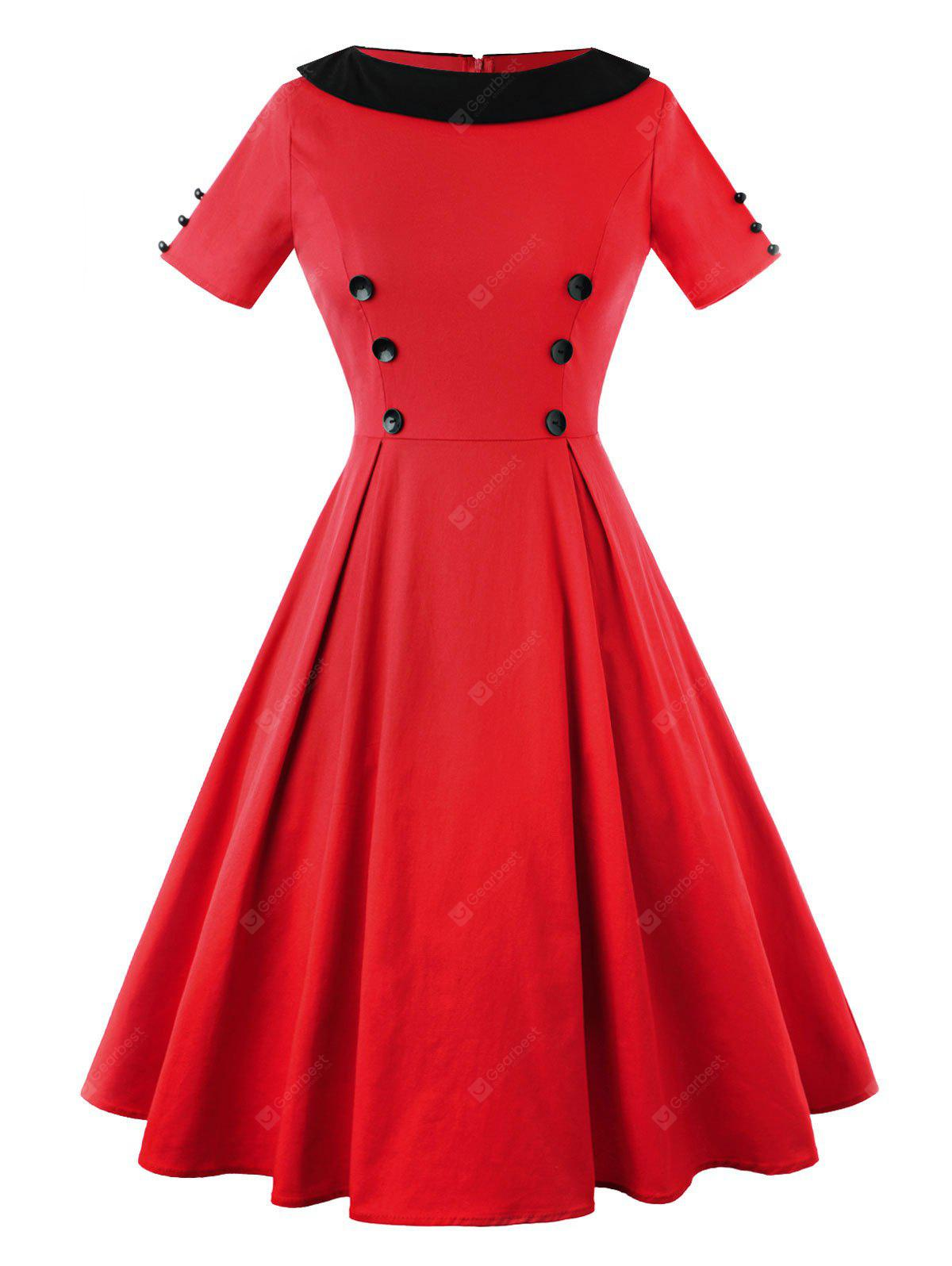 RED 2XL Vintage Two Tone Button Embellished A Line Dress