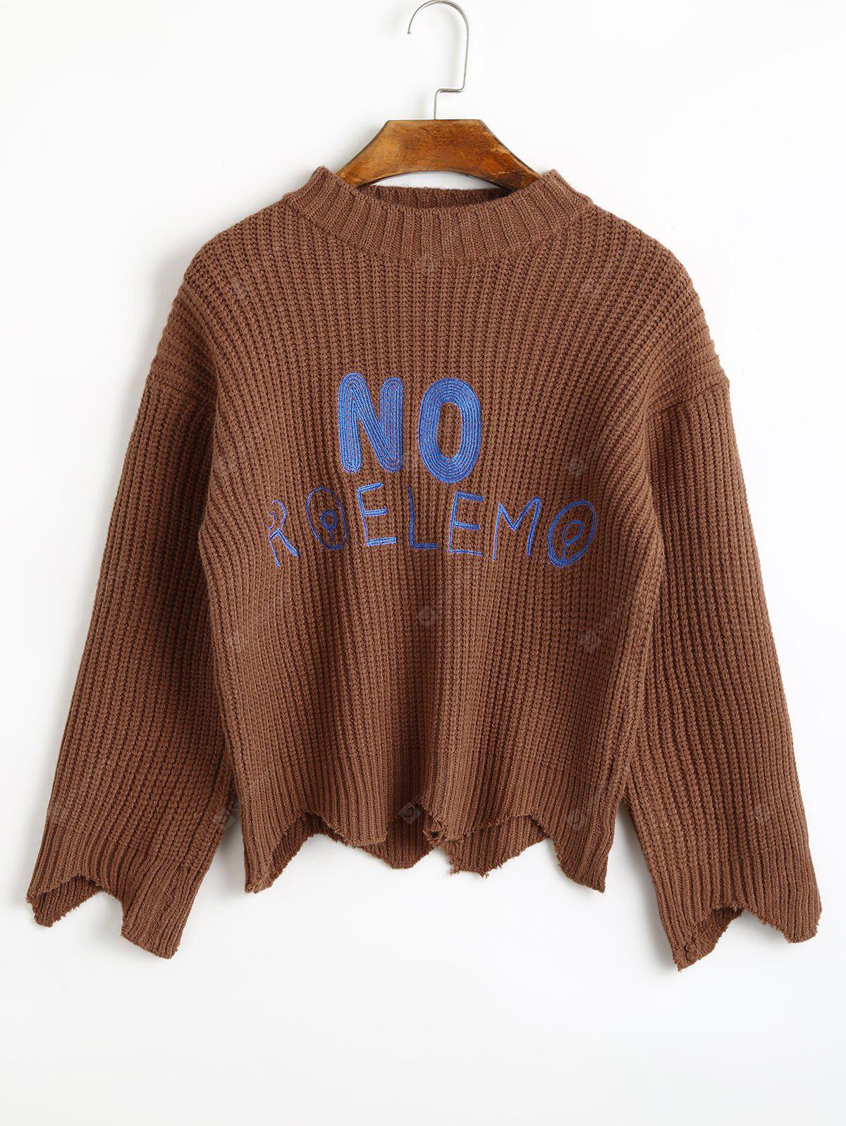Zickzack-Saum Buchstabe gepatcht Chunky Pullover