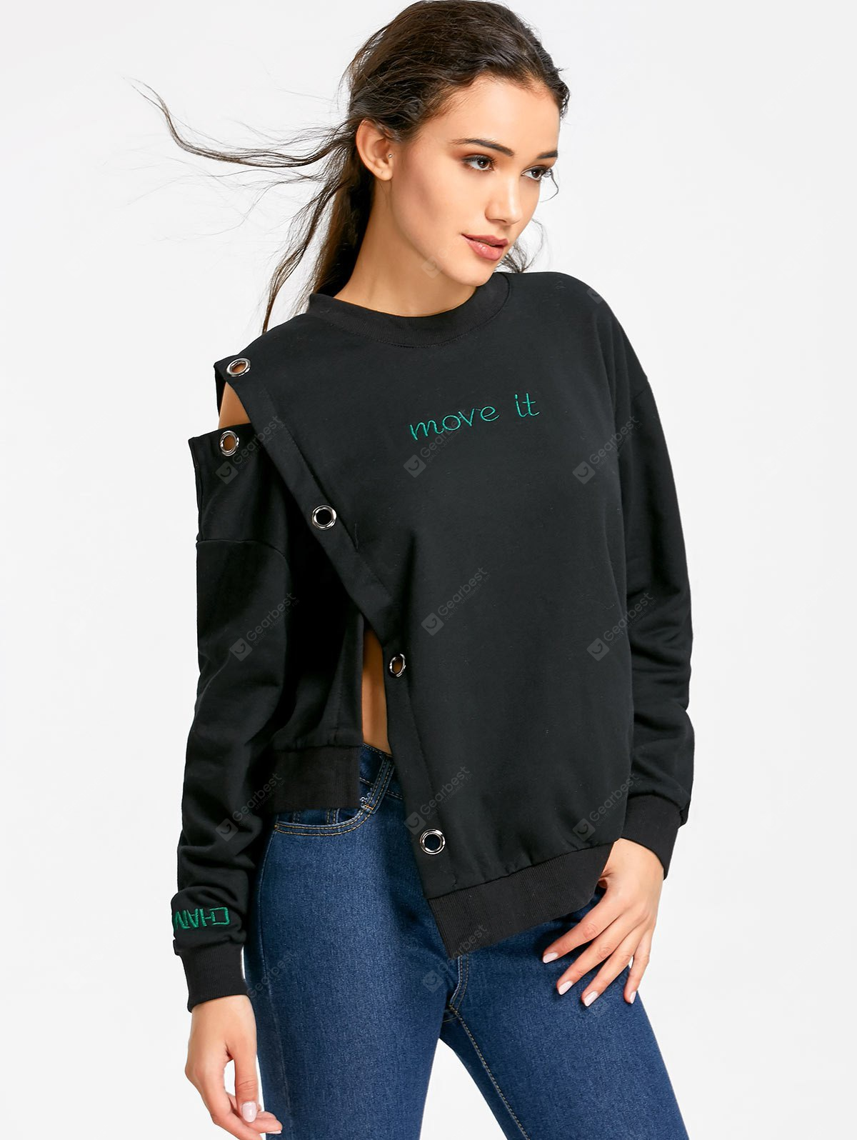 Grommet Insert Move It Asymmetrical Sweatshirt