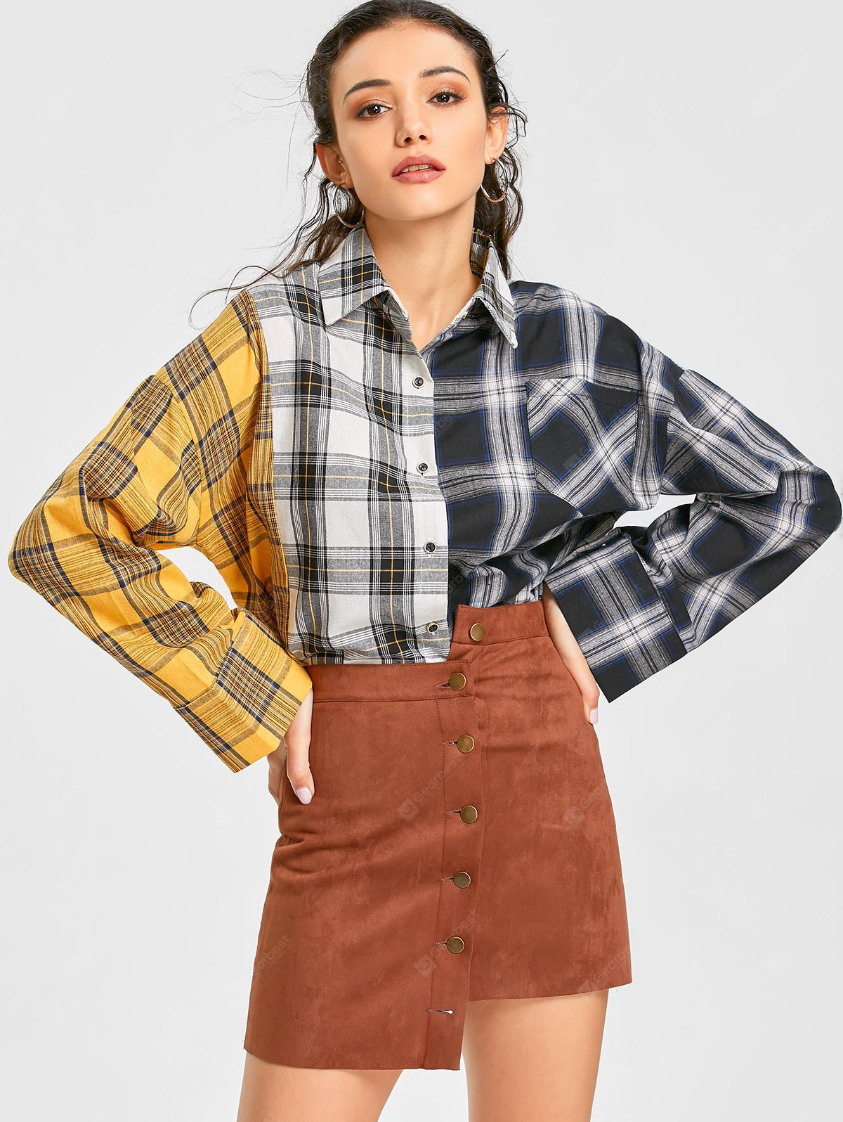 Color Block Long Sleeve Plaid Shirt