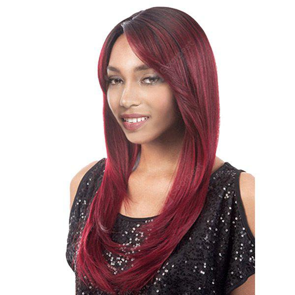 Long Side Parting Colormix Straight Synthetic Wig