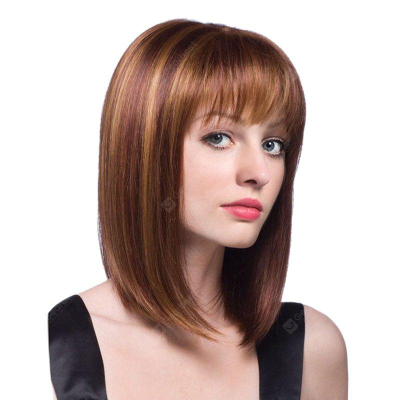Peruca sintética linear média Full Bang Colormix Straight Bob