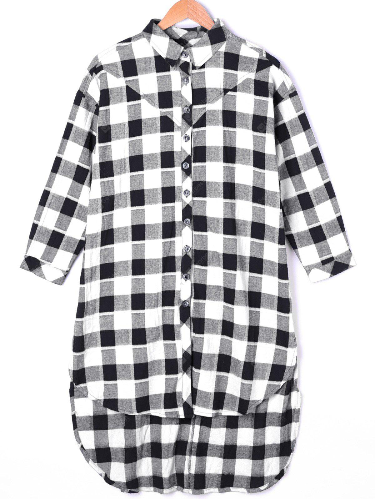 Plaid Dip Hem Longline Shirt