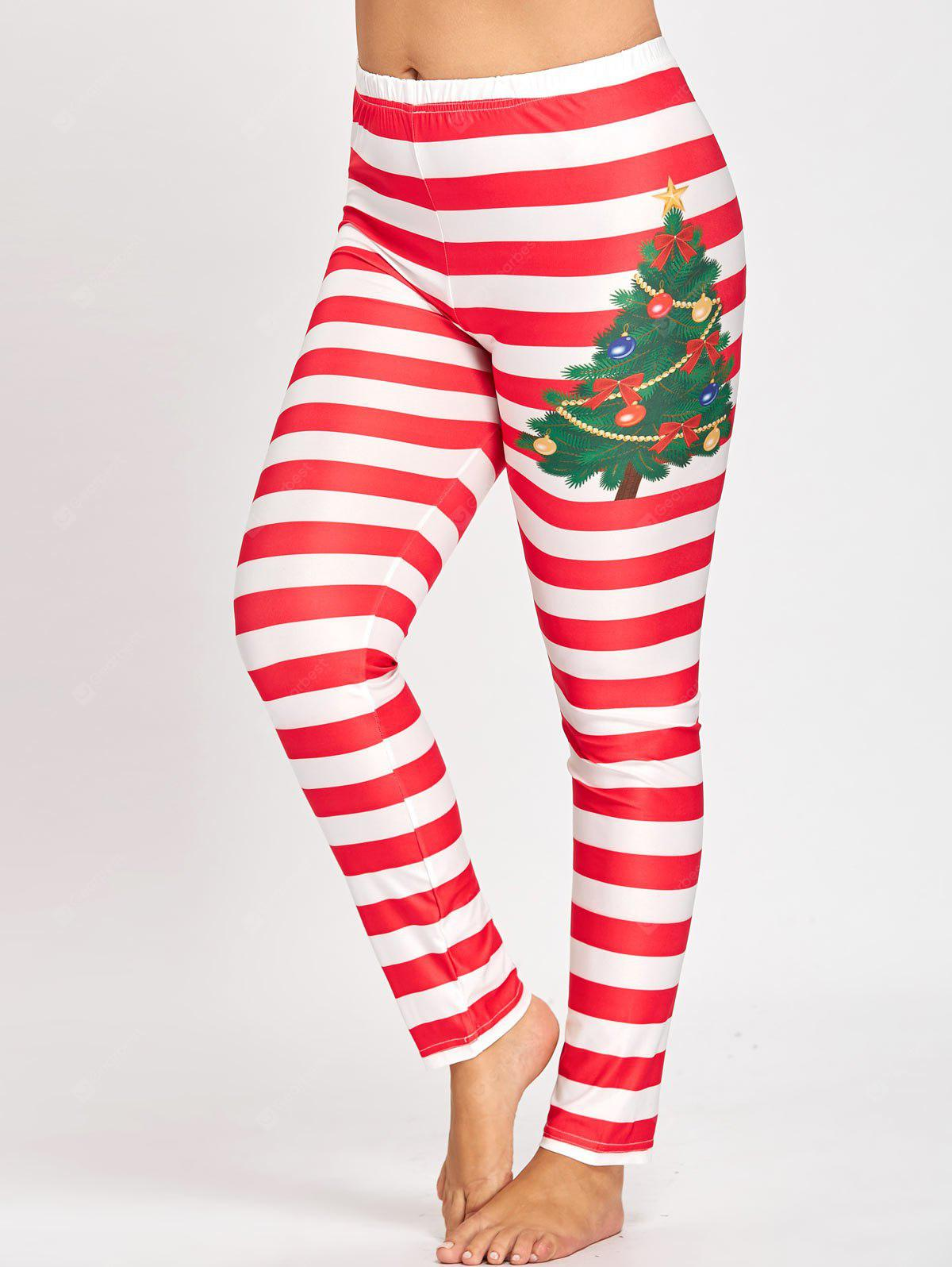 Legging à Rayures Style Noël Grande Taille