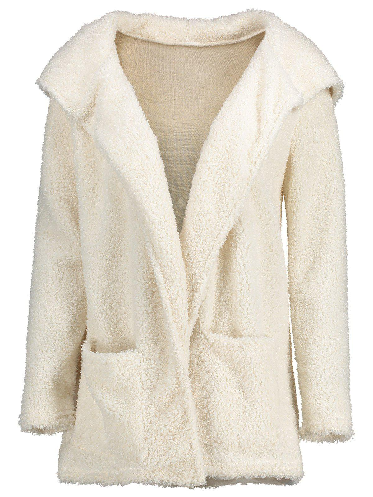 Fluffy Front Pocket Hooded Cardigan