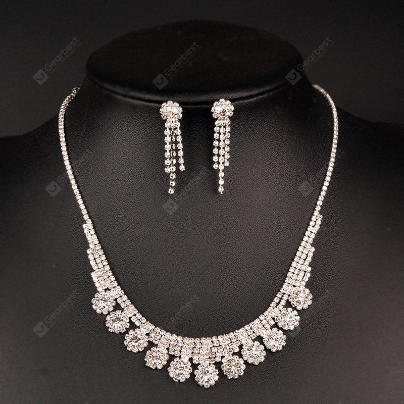 Sparkly Rhinestone Floral Necklace and Earring Set