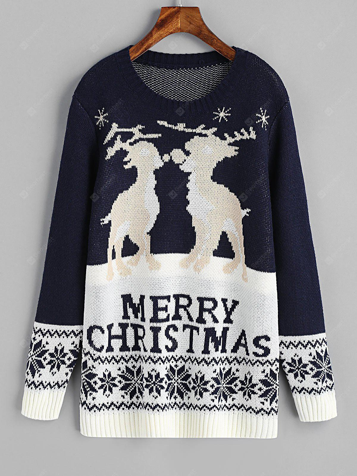 Christmas Elk Graphic Zig Zag Sweater