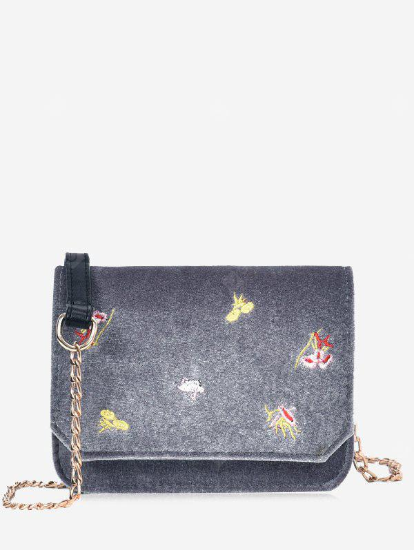 GRAY Embroidery Flowers Chain Crossbody Bag