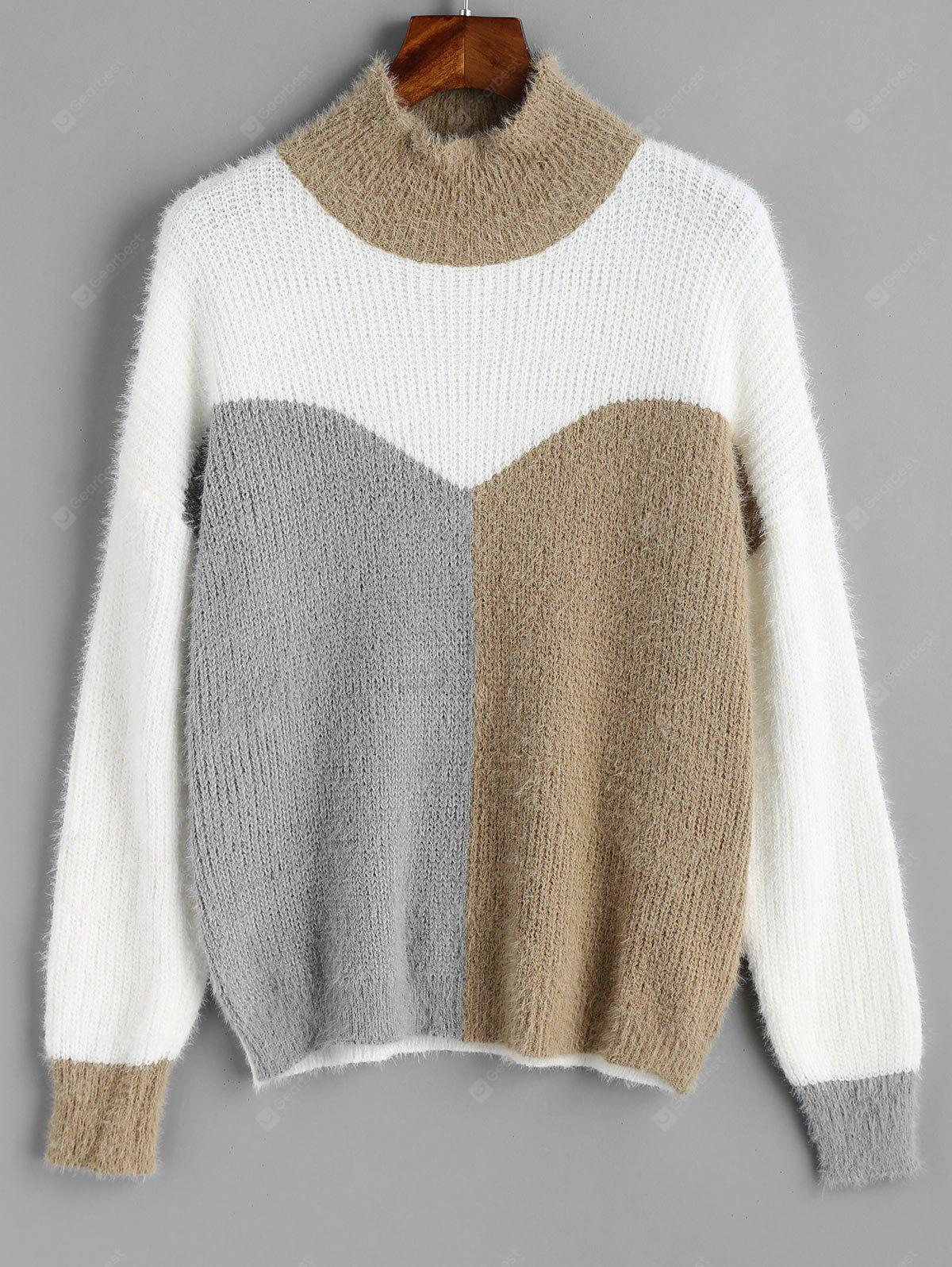 Mock Neck Color Block Textured Sweater