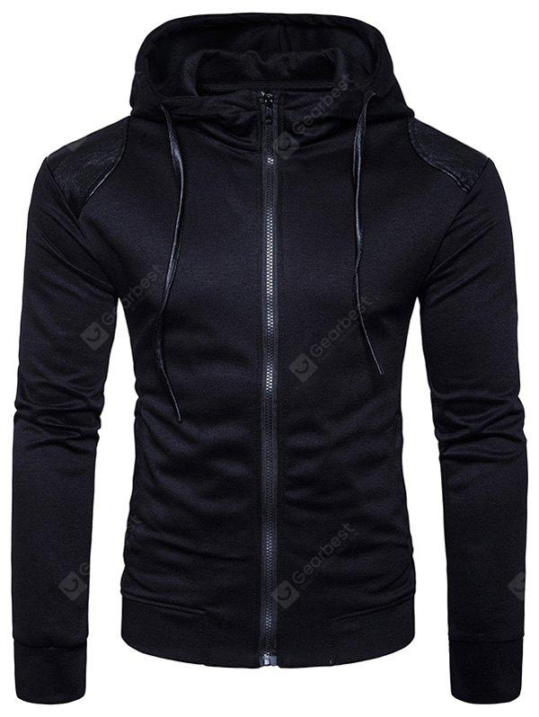 Hooded PU Leather Panel Zip Up Hoodie
