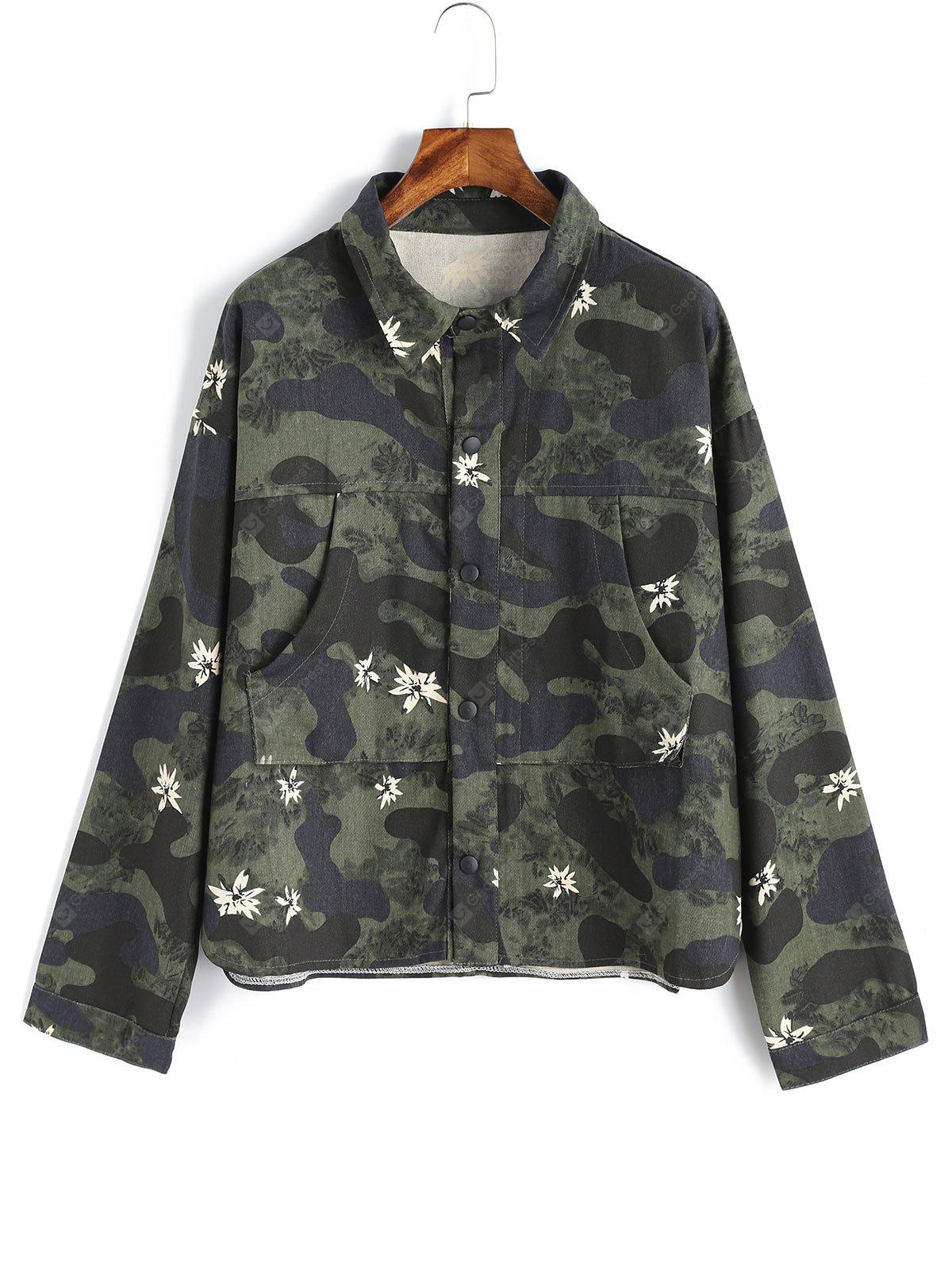 Camouflage Floral Snap Button Jacket