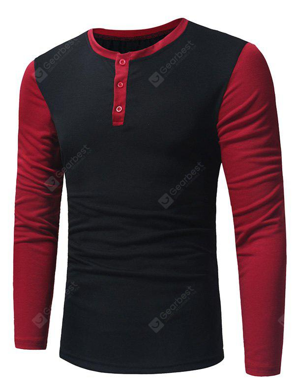 Camiseta cuello henley color block Crew Neck