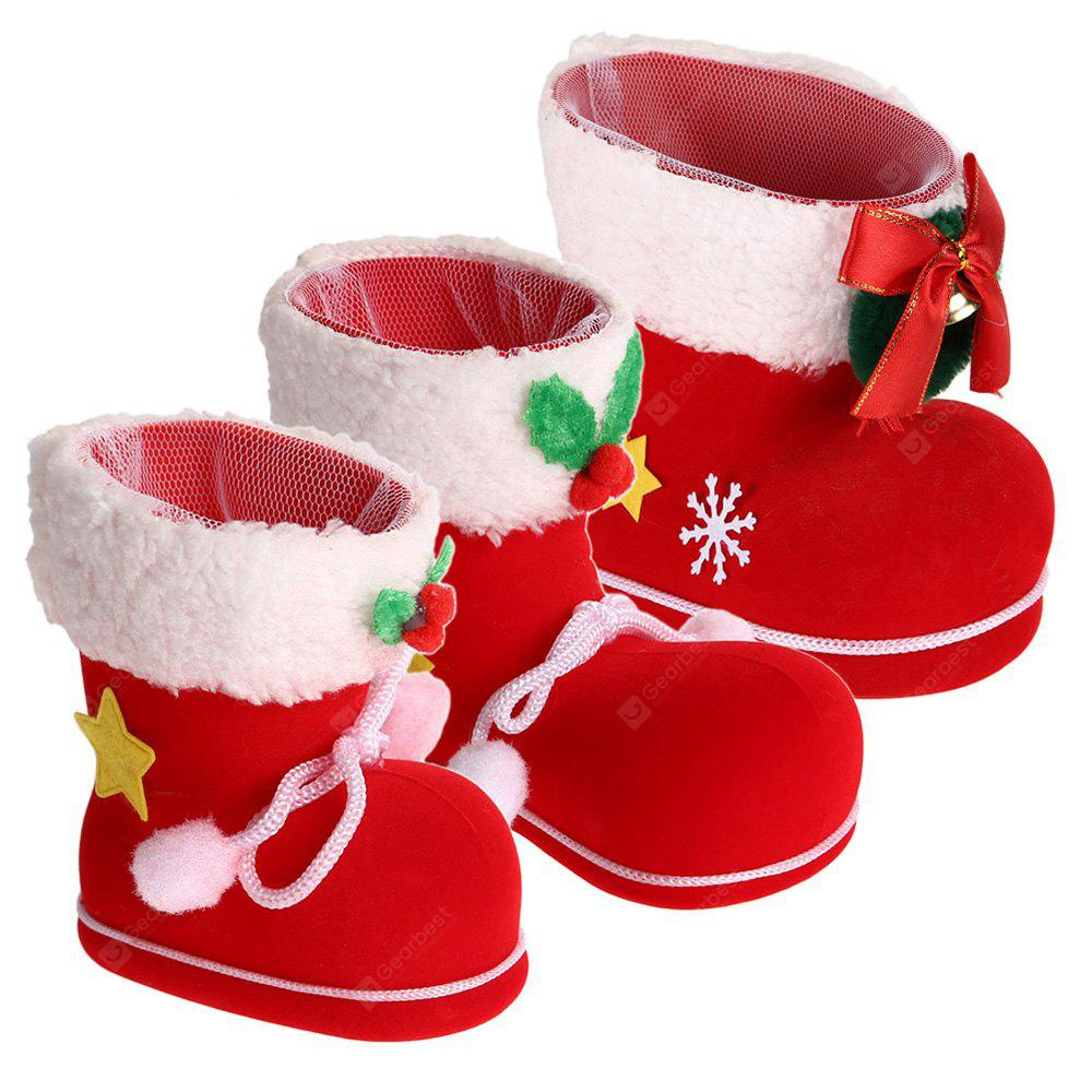 RED 3 Pieces Different Size Christmas Shoes Gift Boxes