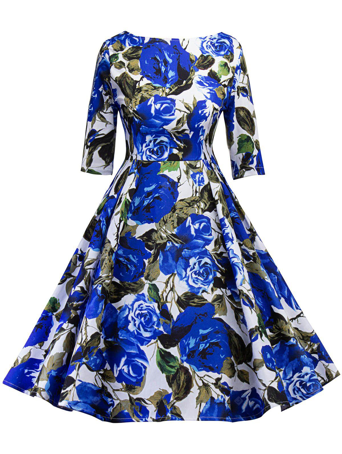 BLUE 2XL Vintage Floral Print Cut Out Pin Up Party Dress