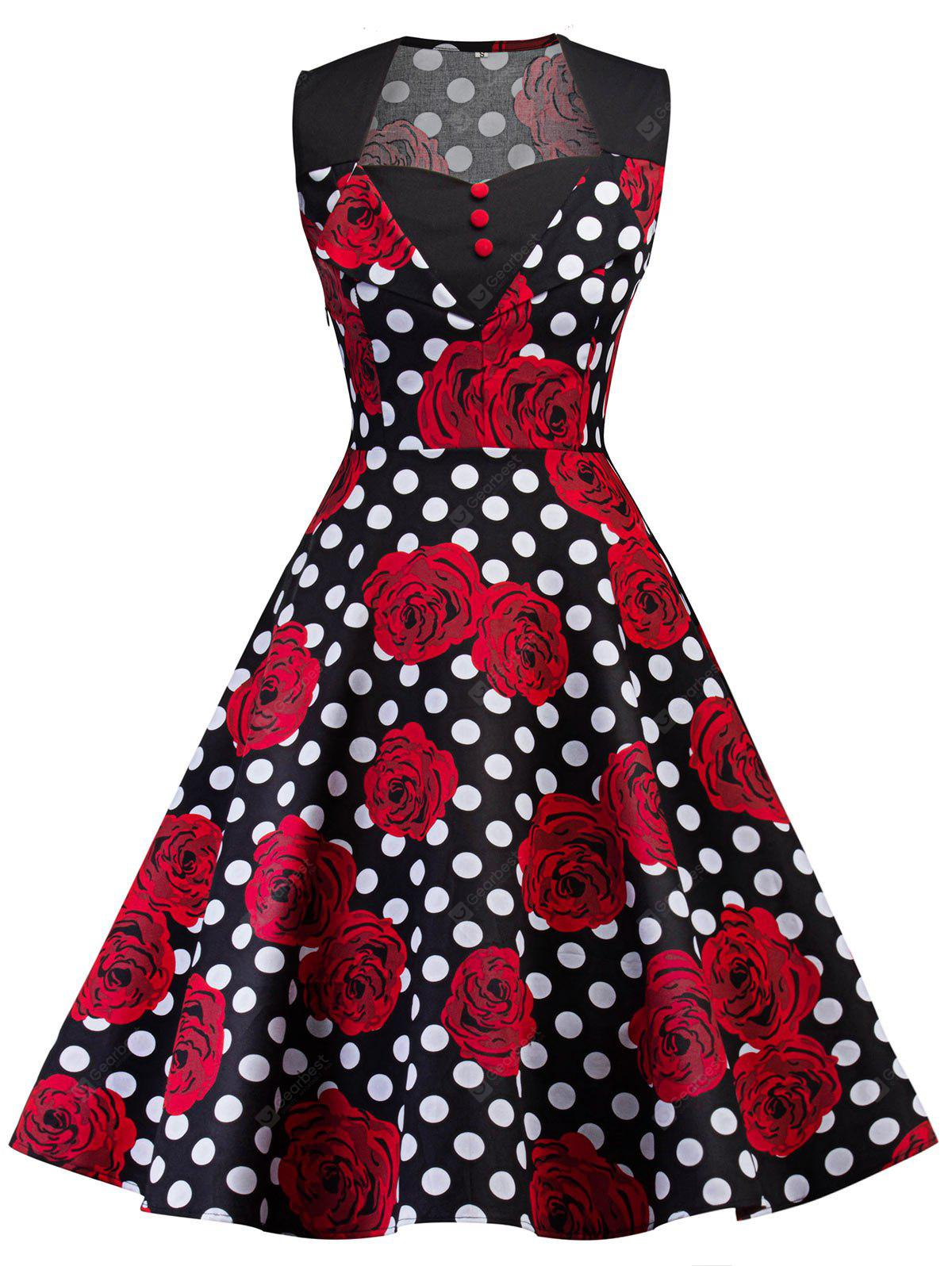 BLACK 2XL Vintage Floral Print Polka Dot Pin Up Dress