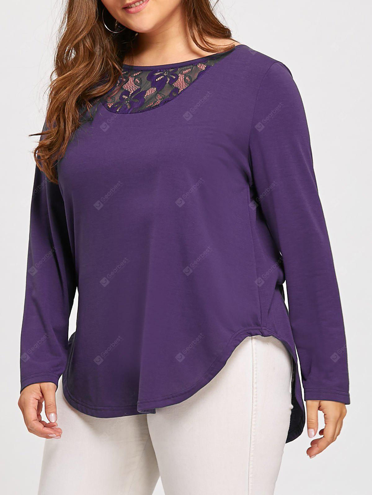 Plus Size Back Button Lace Insert T-shirt