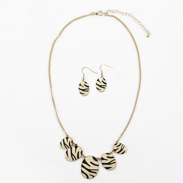 Zebra Oval Necklace and Earring Set