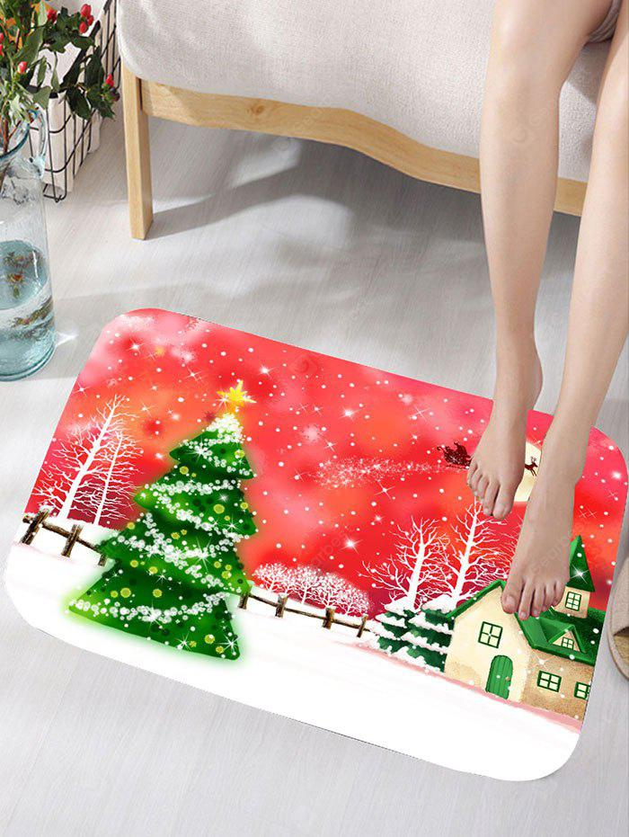 Christmas Snowscape Printed Flannel Skidproof Bath Rug