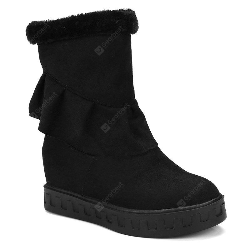 BLACK 42 Slip On Suede Ruched Boots