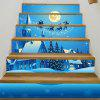 Christmas Night House Pattern Decorative Stair Decals - BLUE