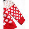Christmas Elk Geometric Pullover Sweater - RED