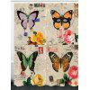 Retro Butterflies Pattern Waterproof Shower Curtain - COLORFUL