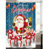 Santa Claus Christmas Gift Print Waterproof Bath Curtain - BLUE